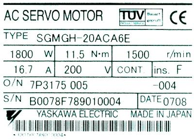 New Refurbished Exchange Repair  Yaskawa Motors-AC Servo SGMGH-20ACA6E Precision Zone