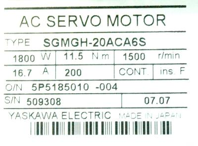New Refurbished Exchange Repair  Yaskawa Motors-AC Servo SGMGH-20ACA6S Precision Zone