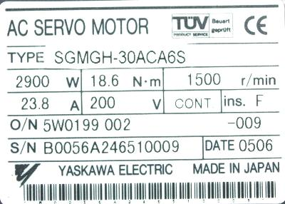 New Refurbished Exchange Repair  Yaskawa Motors-AC Servo SGMGH-30ACA6S Precision Zone