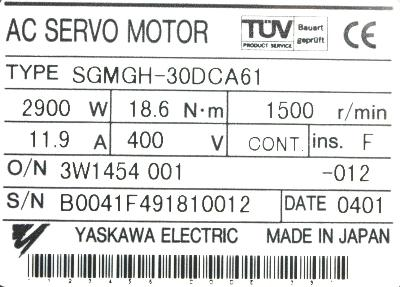 New Refurbished Exchange Repair  Yaskawa Motors-AC Servo SGMGH-30DCA61 Precision Zone