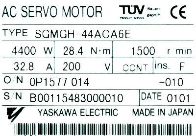 New Refurbished Exchange Repair  Yaskawa Motors-AC Servo SGMGH-44ACA6E Precision Zone