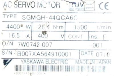 New Refurbished Exchange Repair  Yaskawa Motors-AC Servo SGMGH-44QCA6C Precision Zone
