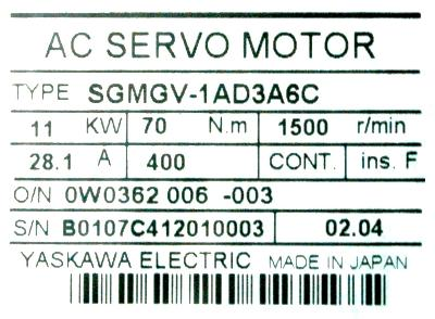 New Refurbished Exchange Repair  Yaskawa Motors-AC Servo SGMGV-1AD3A6C Precision Zone