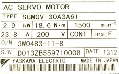 New Refurbished Exchange Repair  Yaskawa Motors-AC Servo SGMGV-30A3A61 Precision Zone