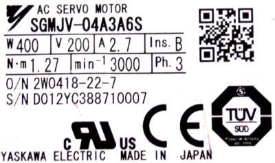 New Refurbished Exchange Repair  Yaskawa Motors-AC Servo SGMJV-04A3A6S Precision Zone