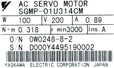 New Refurbished Exchange Repair  Yaskawa Motors-AC Servo SGMP-01U314CM Precision Zone