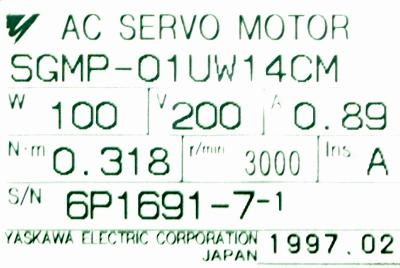 New Refurbished Exchange Repair  Yaskawa Motors-AC Servo SGMP-01UW14CM Precision Zone
