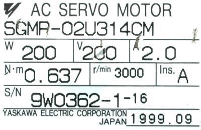 New Refurbished Exchange Repair  Yaskawa Motors-AC Servo SGMP-02U314CM Precision Zone