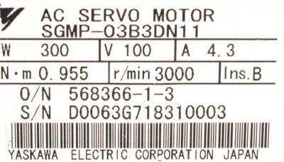 New Refurbished Exchange Repair  Yaskawa Motors-AC Servo SGMP-03B3DN11 Precision Zone