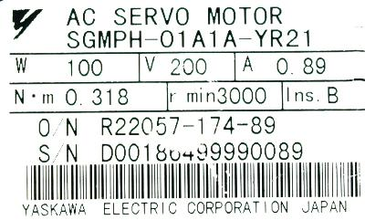 New Refurbished Exchange Repair  Yaskawa Motors-AC Servo SGMPH-01A1A-YR21 Precision Zone