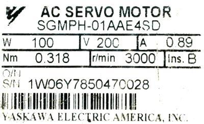 New Refurbished Exchange Repair  Yaskawa Motors-AC Servo SGMPH-01AAE4SD Precision Zone
