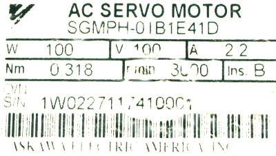 New Refurbished Exchange Repair  Yaskawa Motors-AC Servo SGMPH-01B1E41D Precision Zone
