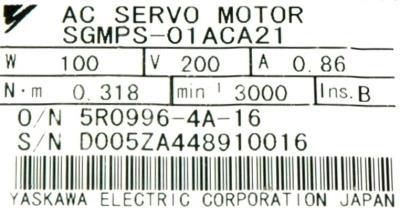 New Refurbished Exchange Repair  Yaskawa Motors-AC Servo SGMPS-01ACA21 Precision Zone