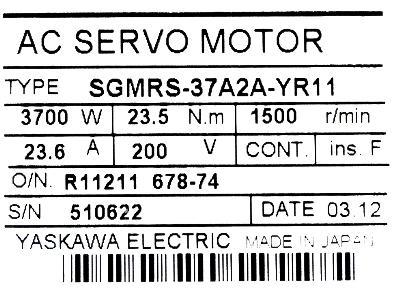 New Refurbished Exchange Repair  Yaskawa Motors-AC Servo SGMRS-37A2A-YR11 Precision Zone