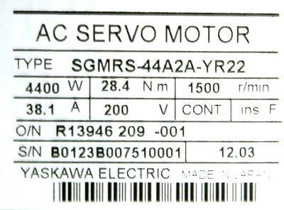 New Refurbished Exchange Repair  Yaskawa Motors-AC Servo SGMRS-44A2A-YR22 Precision Zone