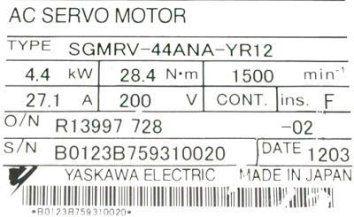 New Refurbished Exchange Repair  Yaskawa Motors-AC Servo SGMRV-44ANA-YR12 Precision Zone