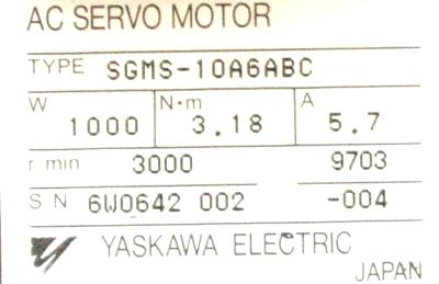 New Refurbished Exchange Repair  Yaskawa Motors-AC Servo SGMS-10A6ABC Precision Zone
