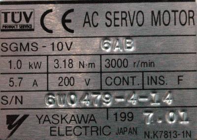 New Refurbished Exchange Repair  Yaskawa Motors-AC Servo SGMS-10V6AB Precision Zone