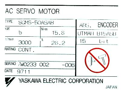 New Refurbished Exchange Repair  Yaskawa Motors-AC Servo SGMS-50ASAB Precision Zone