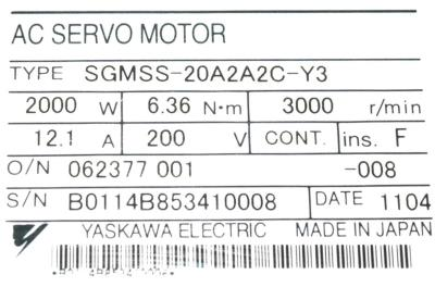 New Refurbished Exchange Repair  Yaskawa Motors-AC Servo SGMSS-20A2A2C-Y3 Precision Zone