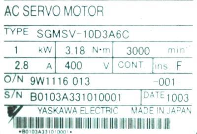 New Refurbished Exchange Repair  Yaskawa Motors-AC Servo SGMSV-10D3A6C Precision Zone