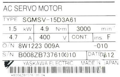 New Refurbished Exchange Repair  Yaskawa Motors-AC Servo SGMSV-15D3A61 Precision Zone
