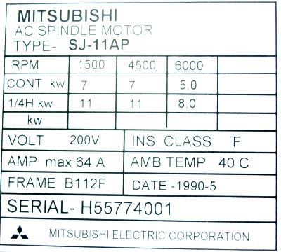 New Refurbished Exchange Repair  Mitsubishi Motors-AC Spindle SJ-11AP Precision Zone