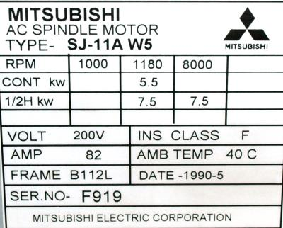 New Refurbished Exchange Repair  Mitsubishi Motors-AC Spindle SJ-11AW5 Precision Zone