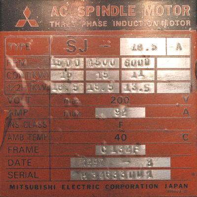 New Refurbished Exchange Repair  Mitsubishi Motors-AC Spindle SJ-18.5A Precision Zone