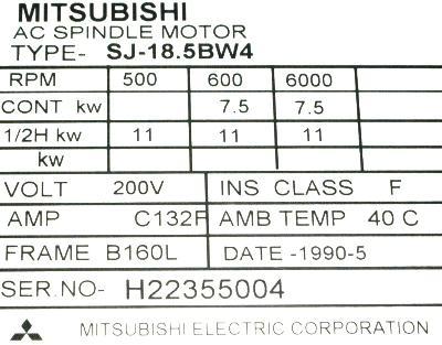 New Refurbished Exchange Repair  Mitsubishi Motors-AC Spindle SJ-18.5BW4 Precision Zone
