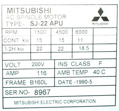 New Refurbished Exchange Repair  Mitsubishi Motors-AC Spindle SJ-22APU Precision Zone