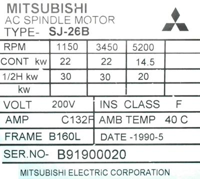 New Refurbished Exchange Repair  Mitsubishi Motors-AC Spindle SJ-26B Precision Zone