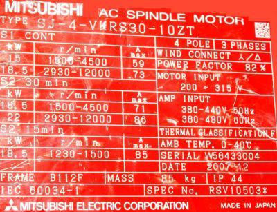 New Refurbished Exchange Repair  Mitsubishi Motors-AC Spindle SJ-4-VKRS30-10ZT Precision Zone