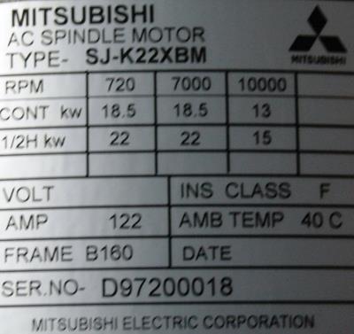New Refurbished Exchange Repair  Mitsubishi Motors-AC Spindle SJ-K22XBM Precision Zone