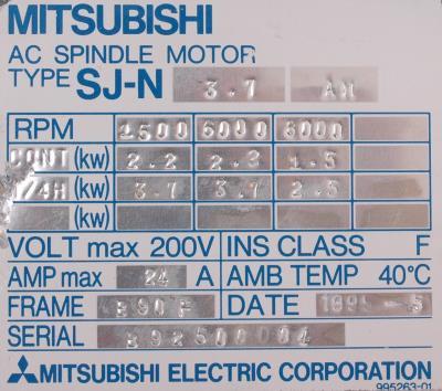 New Refurbished Exchange Repair  Mitsubishi Motors-AC Spindle SJ-N3.7AM Precision Zone