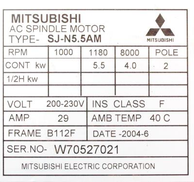 New Refurbished Exchange Repair  Mitsubishi Motors-AC Spindle SJ-N5.5AM Precision Zone