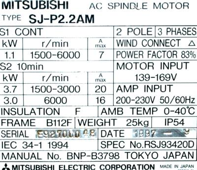 New Refurbished Exchange Repair  Mitsubishi Motors-AC Spindle SJ-P2.2AM Precision Zone