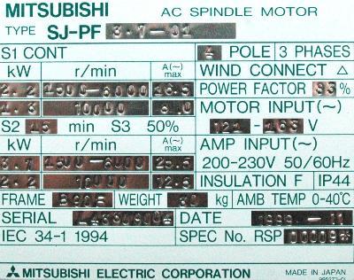 New Refurbished Exchange Repair  Mitsubishi Motors-AC Spindle SJ-PF3.7-01 Precision Zone