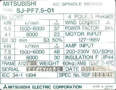 New Refurbished Exchange Repair  Mitsubishi Motors-AC Spindle SJ-PF7.5-01 Precision Zone