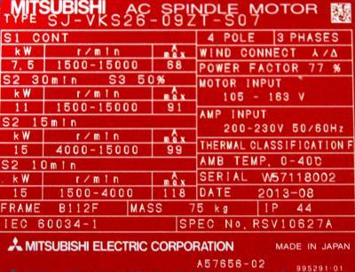 New Refurbished Exchange Repair  Mitsubishi Motors-AC Spindle SJ-VKS26-09ZT-S07 Precision Zone