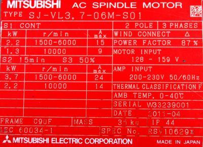 New Refurbished Exchange Repair  Mitsubishi Motors-AC Spindle SJ-VL3.7-06M-S01 Precision Zone