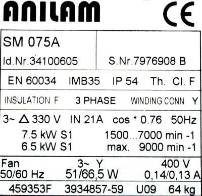 New Refurbished Exchange Repair  Anilam Motors-AC Spindle SM075A Precision Zone