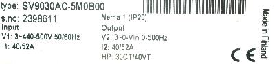 New Refurbished Exchange Repair  Cutler-Hammer Inverter-General Purpose SV9030AC-5M0B00 Precision Zone