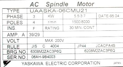 New Refurbished Exchange Repair  Yaskawa Motors-AC Spindle UAASKA-06CMU21 Precision Zone