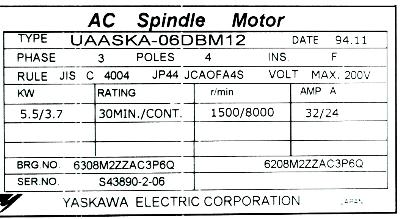 New Refurbished Exchange Repair  Yaskawa Motors-AC Spindle UAASKA-06DBM12 Precision Zone