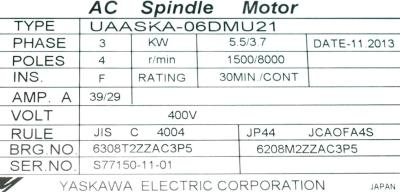 New Refurbished Exchange Repair  Yaskawa Motors-AC Spindle UAASKA-06DMU21 Precision Zone