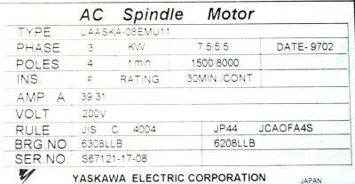 New Refurbished Exchange Repair  Yaskawa Motors-AC Spindle UAASKA-08EMU11 Precision Zone