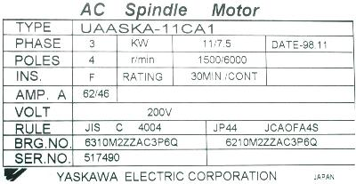 New Refurbished Exchange Repair  Yaskawa Motors-AC Spindle UAASKA-11CA1 Precision Zone