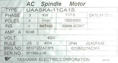 New Refurbished Exchange Repair  Yaskawa Motors-AC Spindle UAASKA-11CA1S Precision Zone