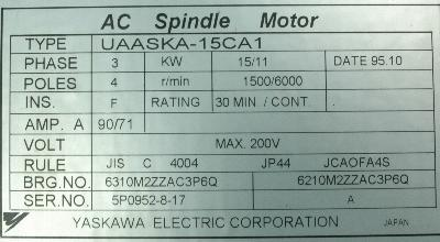 New Refurbished Exchange Repair  Yaskawa Motors-AC Spindle UAASKA-15CA1 Precision Zone
